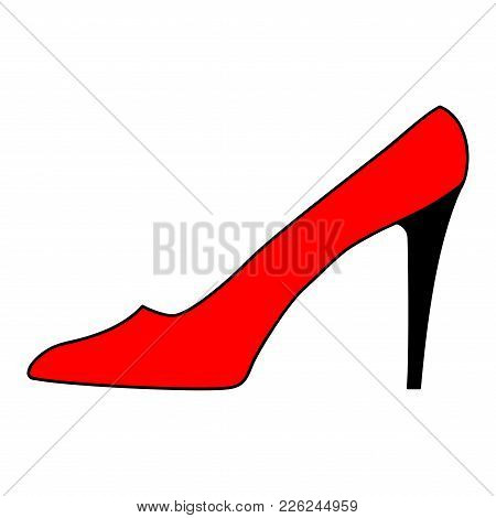 Women Red Shoe With Black Heel Sign. Image Of Elegant Silhouette. Beautiful Icon Isolated On White B