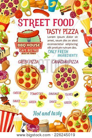 Fastfood Or Street Food Burgers Cafe Or Pizza Menu Design Template For Fast Food Restaurant Bistro.