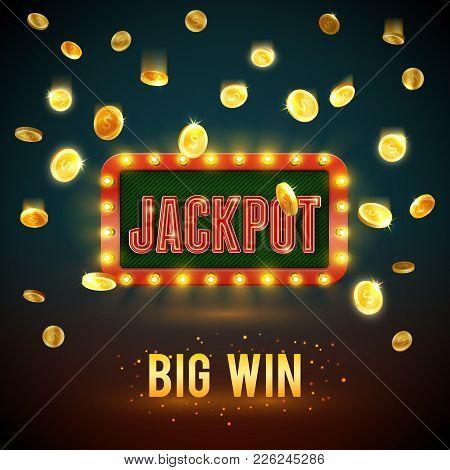 Jackpot Big Win Backdrop Of Golden Coin Falling Splash For Online Casino Poker Game Background Templ