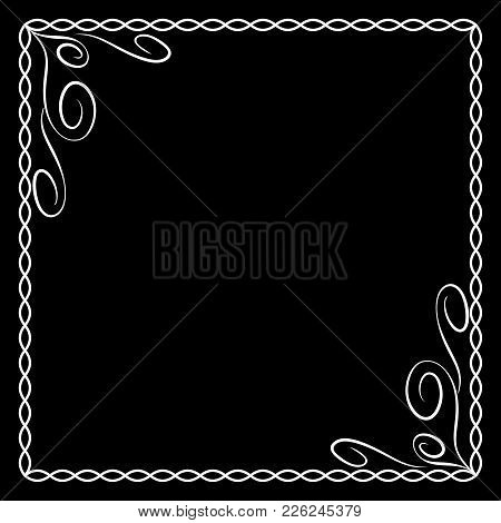 Frame White. Monochrome Framework Isolated On Black Background. Decoration Chain Concept. Modern Art
