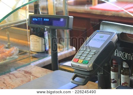 St. Petersburg, Russia - February 8, 2018: Credit Card Payment Machine In Retail Store. Small Paymen