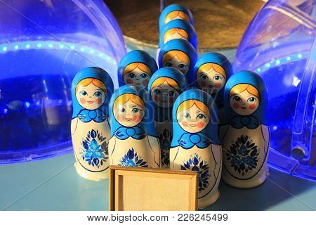 Russian Nesting Dolls Blue And White Set. Stacking Women Figures Matryoshka Dolls Made Of Wood And P