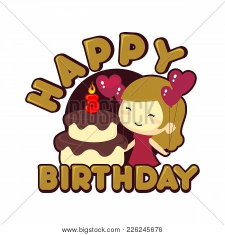 Happy 3st Birthday Funny Cartoon Kids Vector Illustration