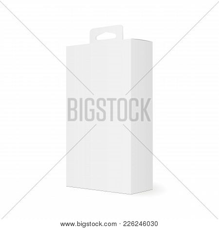 High White Cardboard Box With Hanging Tab - Half Side View. Rectangular Blank Packaging Mockup For S