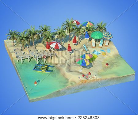 3d Rendering Of Sunny Beach. Piece Of Tropical Island With Water And Sand In Cross Section. Colorful