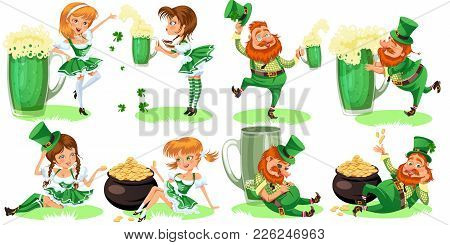 Saint Patrick Day Characters, Leprechaun And Girl With Mug Of Green Beer, Glass Full Alcohol Ale, Dr