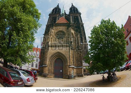 Meissen, Germany - May 22, 2010: Exterior Of The Cathedral In Meissen, Germany. Filmed With A Fish-e