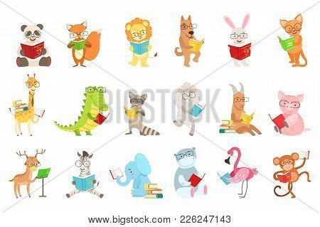 Cute Animal Characters Reading Books Set. Childish Cartoon Style Humanized Animals Vector Stickers I