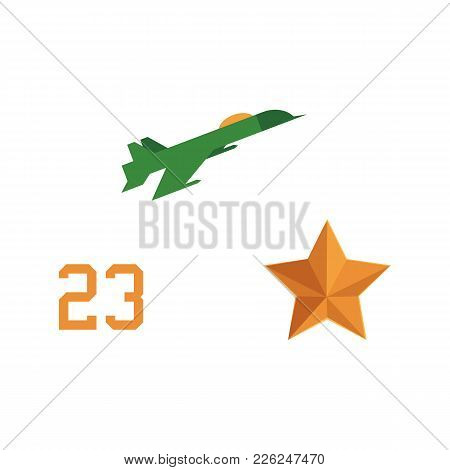 Vector Flat Army, Military, 23 Of February, Russian Defender Of The Fatherland Day Symbol Icons - Mi