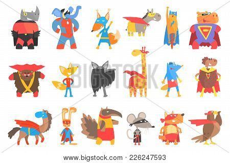Animas Disguised As Superheroes Set Of Geometric Style Stickers. Comic Illustrations In Flat Stylize