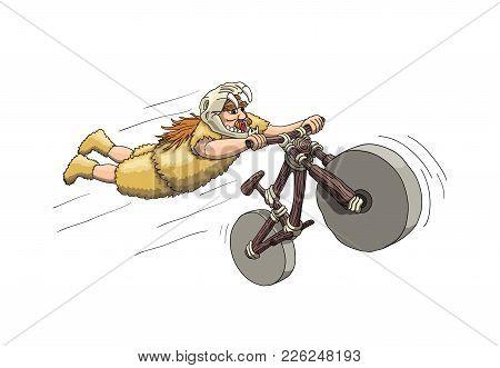 Downhill Mountain Biker From Primal Era. Freeriding Making Superman Stunt On Downhill Bike In Sabert