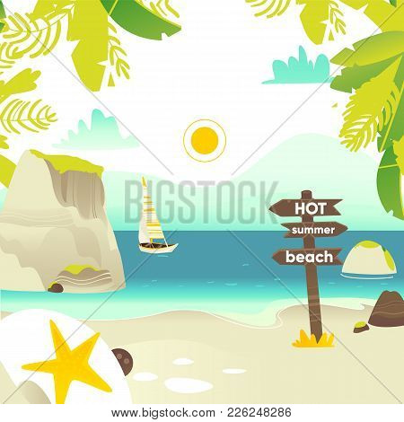 Tropic Palm Beach Banner, Card, Postcard Design With Rocks, Yacht And Wooden Sign, Summer Vacation C