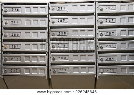 Shabby Mailboxes In The Hall Of Moscow Dwelling House