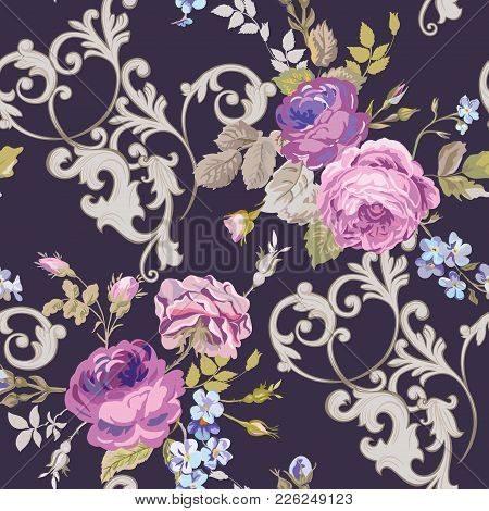 Violet Roses Barocco Flowers Background Violet. Seamless Floral Renaissance Pattern In Vector