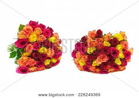 Bouquets Of Roses Isolated On White Background. Horizontal Photo.