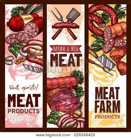 Meat Farm Market Sketch Banners Of Meaty Products. Vector Fresh Butchery Sausages Of Cervelat, Peppe