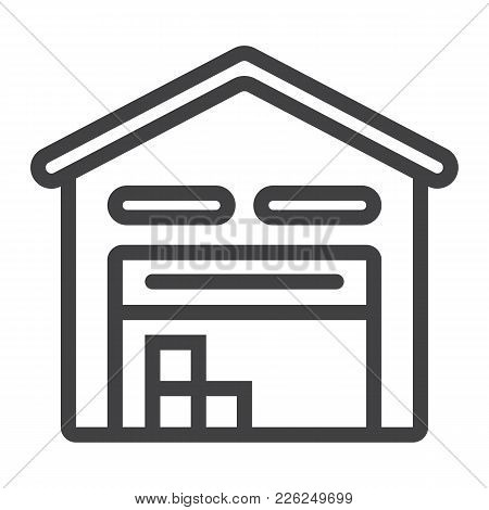Warehouse Line Icon, Logistic And Delivery, Storage Sign Vector Graphics, A Linear Pattern On A Whit