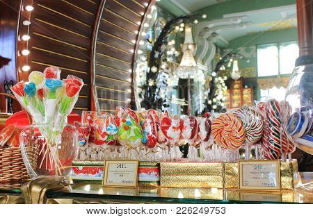 St. Petersburg, Russia - February 8, 2018: Candy Shop Showcase With Colorful Various Sweet Lollipops