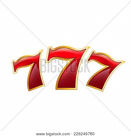 Casino Poker Jackpot Lucky 7 Seven Numbers Icon. Vector Isolated Symbol Of Luck Numbers For Casino O