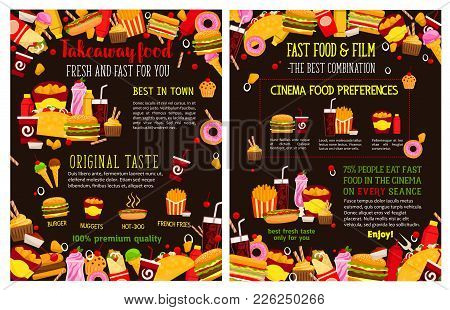 Fast Food Cafe Or Restaurant Menu For Takeaway Fastfood Meals And Snacks. Vector Posters Of Burger,
