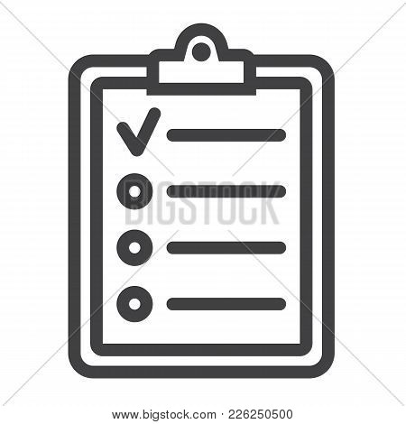 Checklist Line Icon, Clipboard And Note, Checkmark Sign Vector Graphics, A Linear Pattern On A White
