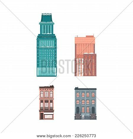 Vector Flat Building Architecture Icon Set. Modern Vintage Skyscaper Business Architecture Residenta