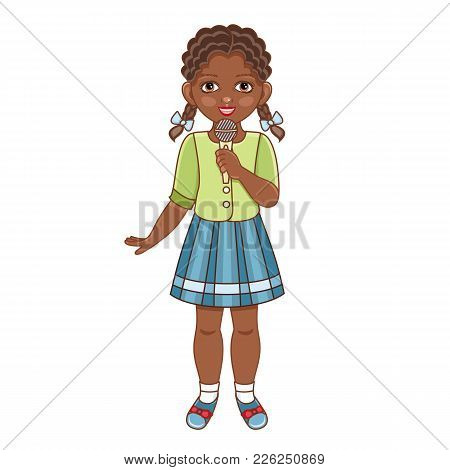 Vector Flat African American Black Girl In Summer Clothing With Pigtails, Skirt Singing At Microphon