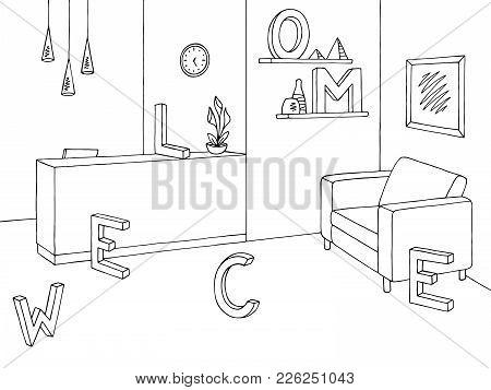 Reception Graphic Office Room Black White Interior Sketch Illustration Vector