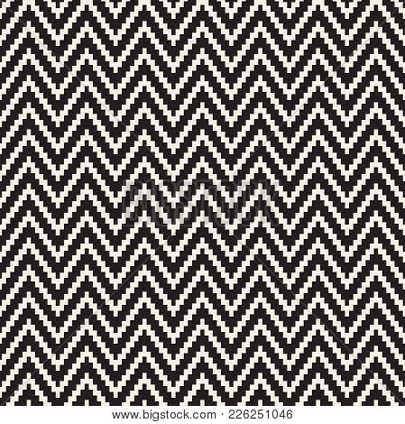 Seamless Zig Zag Geometric Pattern. Classic Black And White Chevron Lines Tiling.