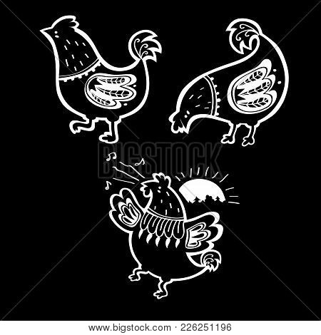 Vector Set Of Hand Drawn Ornate Black And White Hens And Rooster