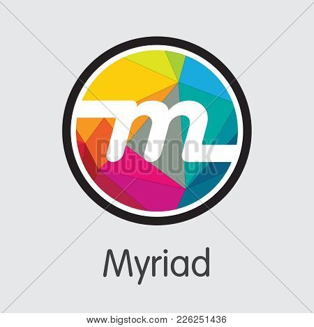 Myriad - Digital Currency Simbol. Vector Illustration Of Cryptocurrency Icon On Grey Background. Vec