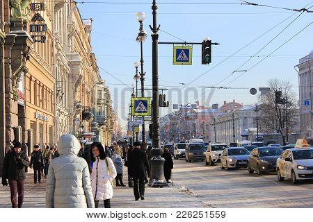 St. Petersburg, Russia - February 8, 2018: Nevsky Prospect Main City Street On Winter Day. Lifestyle