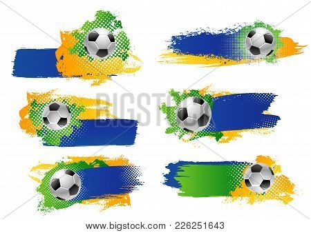 Soccer Game Sport Cup Tournament Or Football League Match Backdrops Design Templates Of Blue, Yellow