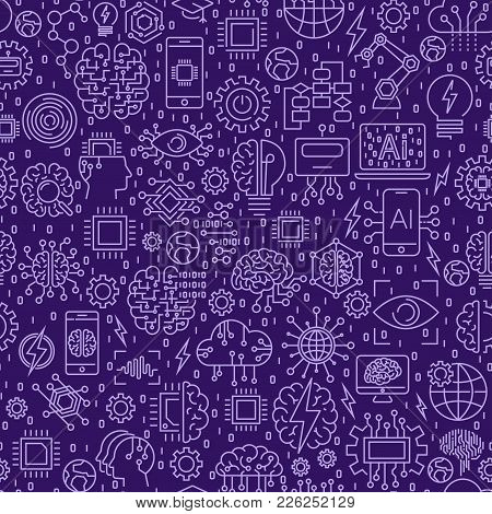 Line Seamless Pattern. Vector Illustration Background With Tiles. Icons On Artificial Intelligence T