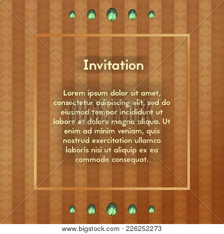 Invitation With Green Glass Stones. Postcard Brown With Emerald Diamond. Vector Template For Vip Gre