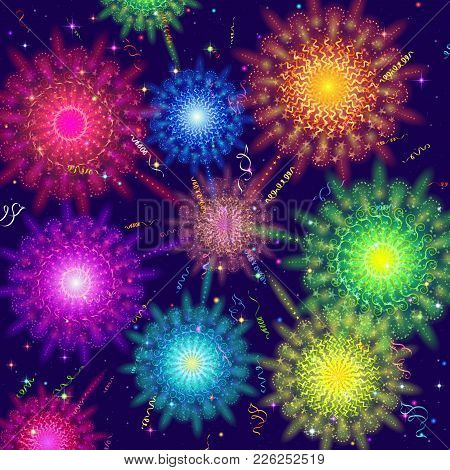 Holiday Background With Various Colorful Fireworks, Sparks And Flashes. Eps10, Contains Transparenci