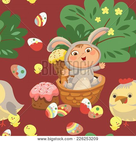 Little Girl Or Boy Hunting Decorative Chocolate Egg, Happy Baby Sit In A Basket, Easter Bunny Costum