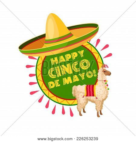 Happy Cinco De Mayo Mexican Holiday Greeting Card. Latin American Spring Festival Sombrero Hat And A
