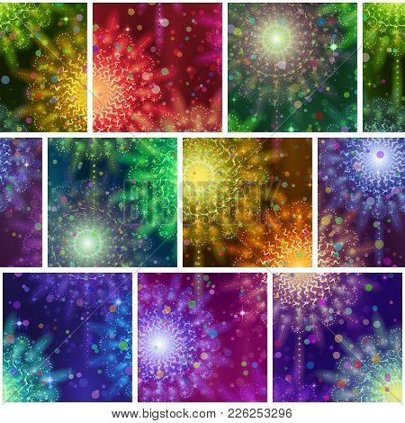 Seamless Holiday Background With Fireworks Of Various Colors And Shapes. Tile Pattern For Web Design