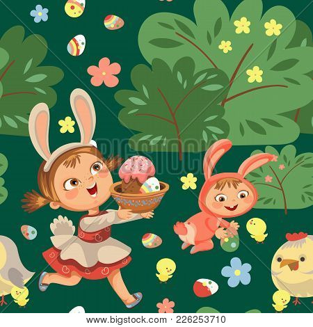 Seamless Pattern Girl Smile Running Hunting Decorative Chocolate Egg In Easter Bunny Costume Ears An