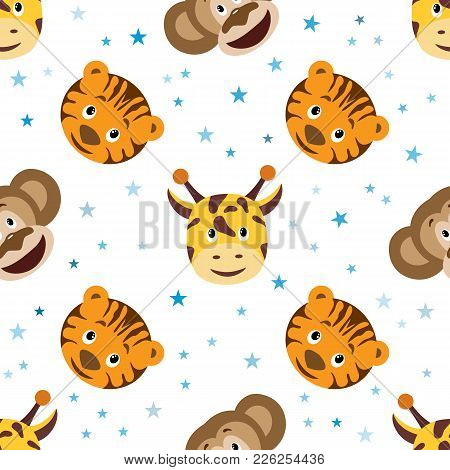 Cute Cartoon Seamless Childish Pattern. Tiger, Monkey And Giraffe Head With Blue Star Seamless Patte
