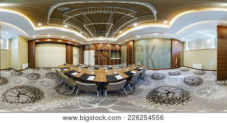 Minsk, Belarus - July 27, 2017: 360 Panorama View In Interior Of Luxury Empty Conference Hall For Bu
