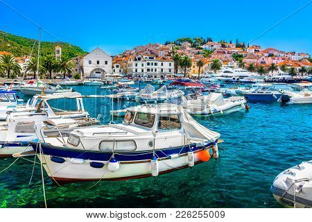 Seafront View At Mediterranean Summer Scenery In Southern Croatia, Island Hvar Luxury Tourist Resort