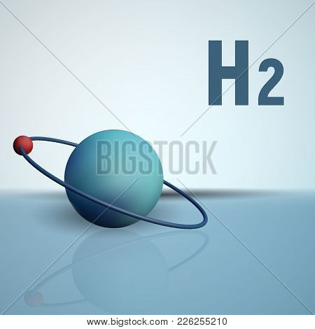 A Hydrogen Atom With An Electron In Orbit. Chemical Model Of The Molecule. H2 Vector Illustration.