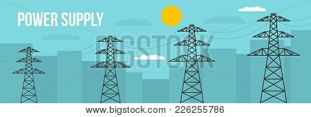 Power Supply Banner. Flat Illustration Of Power Supply Vector Banner For Web