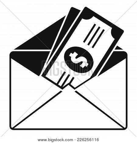 Money In Envelope Icon. Simple Illustration Of Money In Envelope Vector Icon For Web