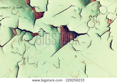 Texture Background Of Peeling Paint - Light Green Peeling Paint On The Wooden Texture Surface, Close
