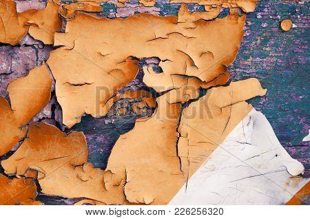 Texture Background - Orange Peeling Paint On The Wooden Texture Surface, Closeup Of Peeling Paint. T