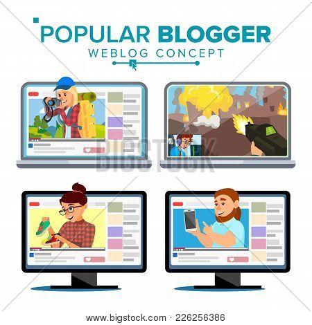 Video Streamer Set Vector. Personal Weblog Channel. Blogosphere Online. Popular Videobloggers. Isola