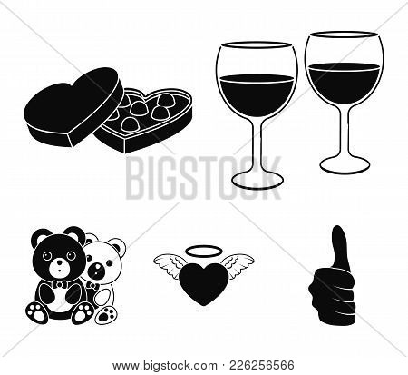Glasses With Wine, Chocolate Hearts, Bears, Valentine.romantik Set Collection Icons In Black Style V